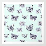 Some Grey Cats Art Print