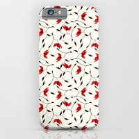 iPhone & iPod Case featuring Strange Red Flowers Pattern by Boriana Giormova