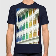 Rainbow Windows Mens Fitted Tee Navy SMALL