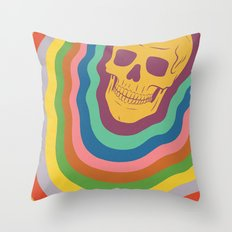 Trippy Rainbow Skull Throw Pillow