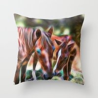 Horse Kisses Throw Pillow