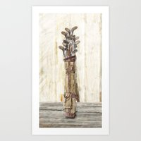 Antique Golf Clubs Watercolor Print Art Print