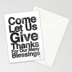 COME, LET US GIVE THANKS FOR OUR MANY BLESSINGS (A Prayer of Gratitude) Stationery Cards