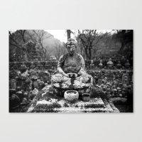 Buddha in the snow Canvas Print