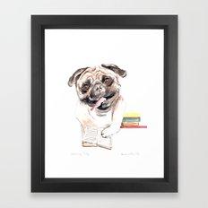 Bookish Bulldog Framed Art Print