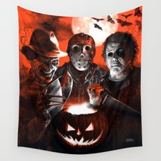 Freddy Krueger Jason Voorhees Michael Myers Super Villians Holiday Wall Tapestry