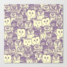 just owls purple cream Canvas Print