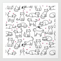 Kitties With Hearts Art Print