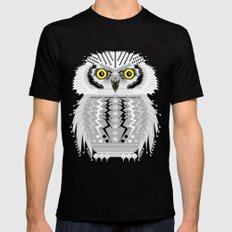 Geometric Snowy Owl Mens Fitted Tee SMALL Black