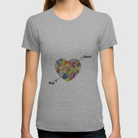 Heart Map Womens Fitted Tee Athletic Grey SMALL