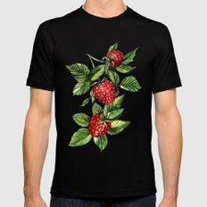Raspberries SMALL Black Mens Fitted Tee