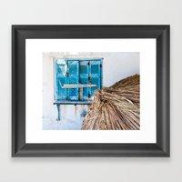 Distressed Blue Wooden S… Framed Art Print