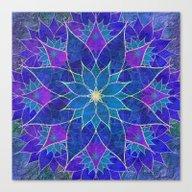 Lotus 2 - Blue And Purpl… Canvas Print