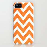 iPhone Cases featuring orange chevron by her art