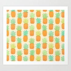 Watercolor Pineapples Art Print