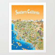 Cartoon Map of Southern California Art Print