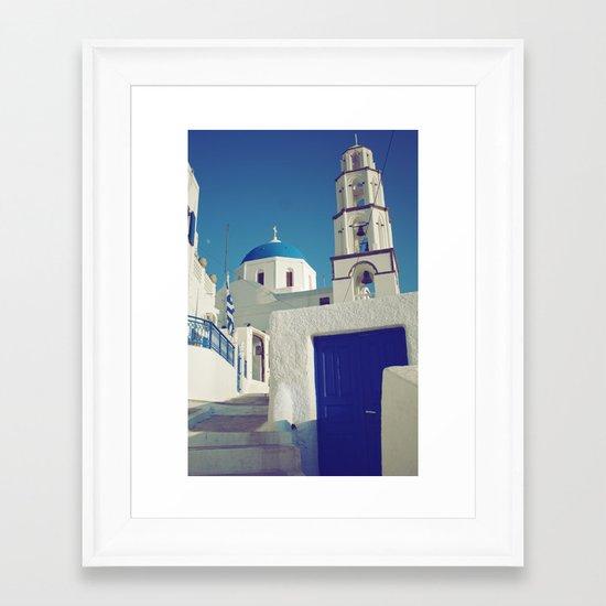 Santorini Churches I Framed Art Print