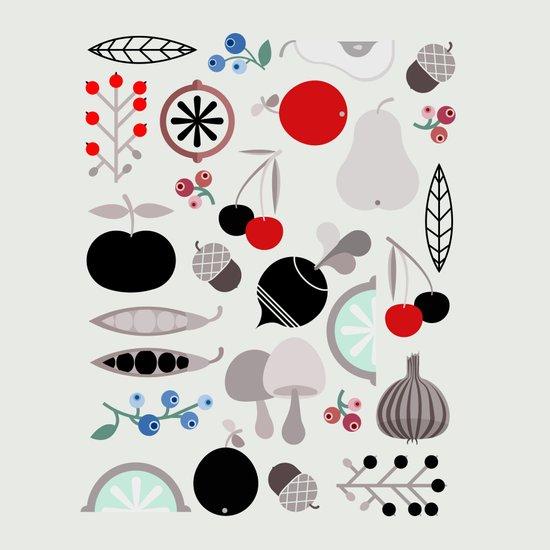 Mushroom Berries Nuts and Fruits / Classic 50s pattern Art Print