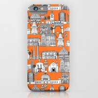 iPhone Cases featuring Los Angeles orange by Sharon Turner