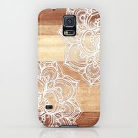 Galaxy S5 Cases featuring White doodles on blonde wood - neutral / nude colors by micklyn