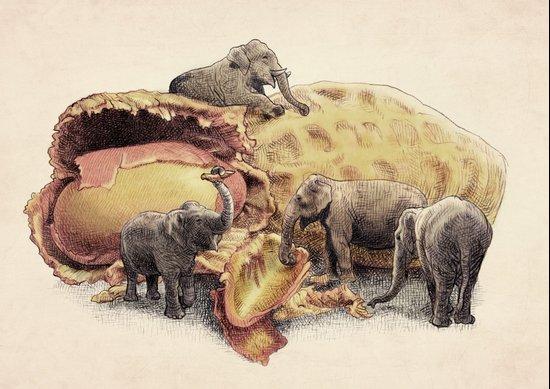 Elephant's Paradise Art Print