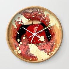 Red Cherry Lips Wall Clock