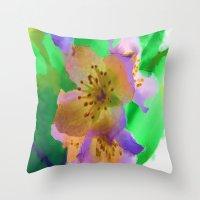 Purple Flowers - Waterco… Throw Pillow