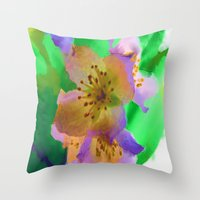 Purple Flowers - Waterco… Throw Pillow