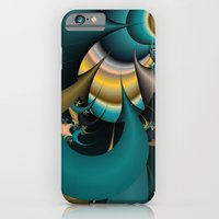 iPhone & iPod Case featuring teal and yellow fractal  by Christy Leigh