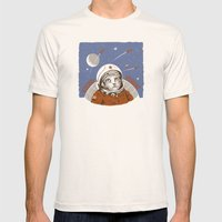 Soviet Space Cat Mens Fitted Tee Natural SMALL