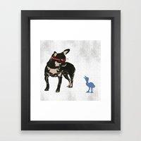 Black tan Chihuahua Dog with chick Framed Art Print