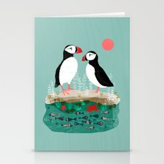 Puffins - Bird Art, Shorebird, Sea bird, birds, Cute illustration by Andrea Lauren Stationery Cards