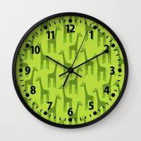 Giraffes-Green Wall Clock