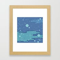 Blue Space Bubbles (8bit… Framed Art Print