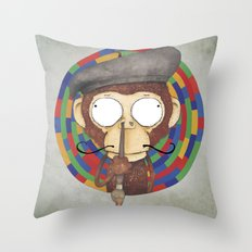 Monkey Artist Throw Pillow