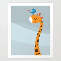 Art Print featuring Orange And Blue by Volkan Dalyan