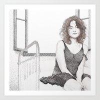 Closed Eyes - Woman Dotw… Art Print
