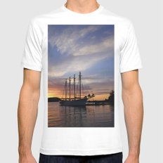 Schooner at sun rise White Mens Fitted Tee SMALL