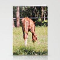 Horses Feeding In A Fiel… Stationery Cards