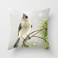 Snowy Songbird Throw Pillow