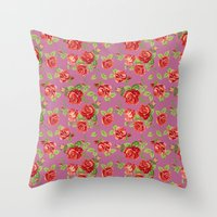 Rose pattern- pink Throw Pillow