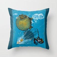 pufferfish baloon Throw Pillow