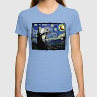 Starry Night Versus The … Womens Fitted Tee Tri-Blue SMALL