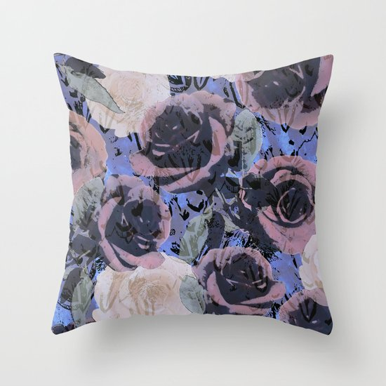 feathered roses  Throw Pillow