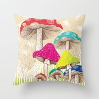 Magical Mushrooms Throw Pillow