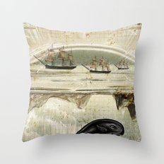paper II :: whales/ships Throw Pillow