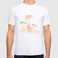 Mushrooms Trees Mens Fitted Tee Ash Grey SMALL