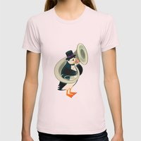 Puffin On A Tuba Womens Fitted Tee Light Pink SMALL