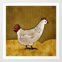 Cecile the Hen Art Print