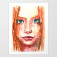 Portrait - RedHair & Fre… Art Print